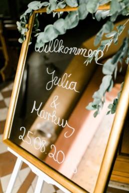 Hochzeit in Franken Welcome Spiegel Julia Reif Fotografie