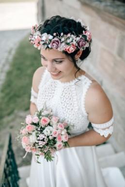 Braut Brautstrauß Blumenkranz