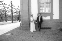 schwarz weiß Foto der Hochzeit in Bamberg in Hochzeitslocation Schloß Seehof